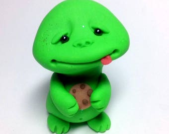 OOAK Cute Slimer Ghost Trollfling Troll with a Chocolate Chip cookie by Amber Matthies
