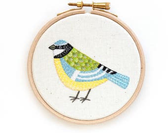 Hand Embroidered Hoop Art, Blue Tit, Original Embroidery Art