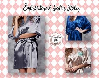 Bridesmaid Gift, Personalized Satin Robe, Wedding Bridesmaid Robe, Monogrammed Robe, Satin Robe, Personalized Bridesmaids Gifts