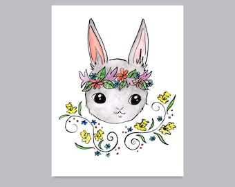 Woodland Rabbit with Daffodils Print