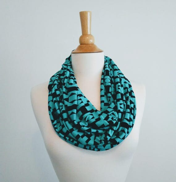 Black infinity scarf aqua print scarf jersey gift for her mothers day spring scarf ethnic geometric print lightweight accessory