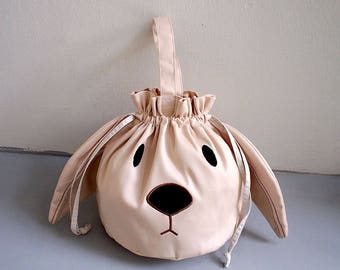 BEIGE Bunny Drawstring Bag, Bunny Pouch, Bunny Purse, Drawstring Bag Women, Drawstring Bag Kids, Drawstring Purse, Rabbit Purse, Twinning