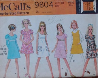 Vintage 60s Empire Waist A-Line Mini Dress Pattern / w/ Puff Leg A Mutton Sleeves / McCall's 9804 1960s / Size 9/10 Bust 30 31
