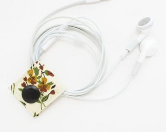 Extra Small Cord Keeper | Vintage floral cotton fabric earbud organizer holder for small cords and cables.