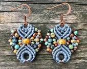 Micro-Macrame Earrings - Powder Blue Picasso Mix
