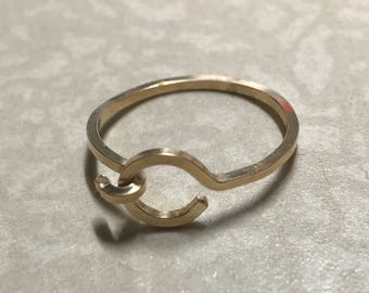 Golden hook Ring Size 6 - ALL PROFITS donated to the ACLU