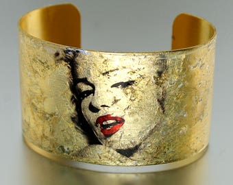 Photo Cuff, Brass Cuff Bracelet, Altered Art Jewelry, Photo Jewelry, Gold Leaf Cuff, MARILYN MONROE