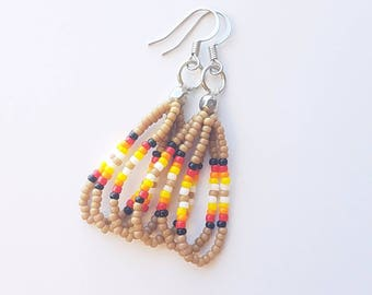 Tan Beaded Earrings
