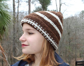 Hand Knit Brown & Cream Alpaca Hat