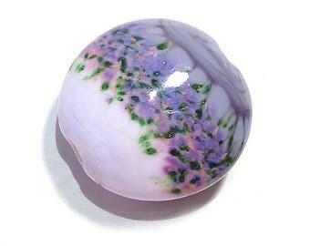 Handmade Glass Lampwork Bead, Purple  Gardens Jumbo Lentil