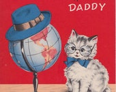 Vintage 40's greeting card NORCROSS Daddy Birthday Cat with Glasses Globe Hat
