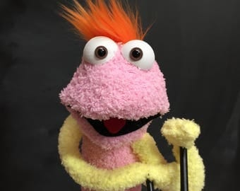 Sock Puppet Monster, Hand and Rod Puppet, Pink Sock Puppet, Yellow and Orange Accents, Arm Rods