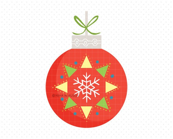 Red Christmas Bauble Clip-Art / Snowflake Christmas Ball Artwork / C0004
