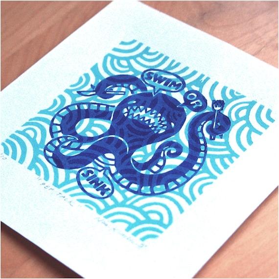 Pep Talk - Linoleum Print