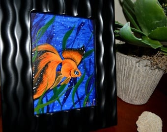 RW2 Original Acrylic Goldfish Butterfly Painting Monarch Fish By Robert Walker blue orange