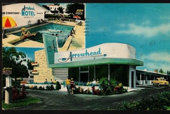 Arrowhead Motel - Miami, Florida - 1950s - Vintage Souvenir Postcard
