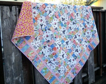 Paris Fabric Lap Quilt, One of a Kind 60 x 60 quilt in pink, orange, blue patchwork blanket, sofa throw, couch quilt, handmade quilt,