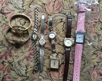 Vintage and Newer Wrist Watches Time Piece Watch - Timex Quartz Faded Glory Bulova Herlin