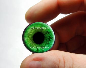 BJD Glass Eyes - Green Human Doll Eyes Handmade Glass Cabochons - Pair or Single - You Choose Size