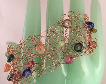Hand crocheted beaded wire cuff bracelet artisan jewelry handmade
