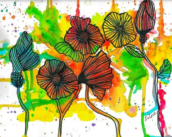 Abstract Floral Watercolor Print