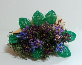 Beaded Flowers French Beaded Violets in Seashell