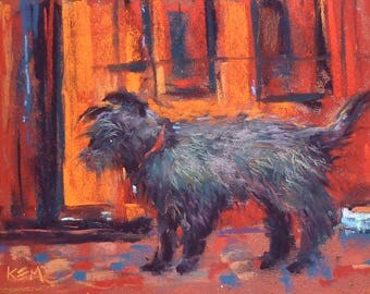Little Black Dog from Ireland plein air  Landscape Original Pastel Painting Karen Margulis 5x7