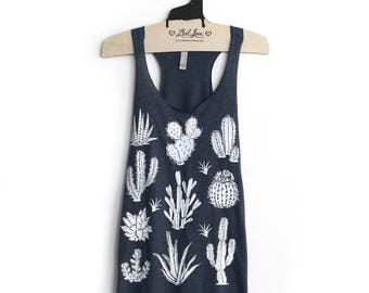 Small- Navy Tri-Blend Teal Racerback Tank with Cactus Screen Print