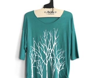 SALE S or M - Teal 3/4 Sleeve Dolman Top with Branch Trees Screen Print