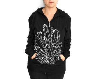 SALE Unisex S- Black Hooded Zip Up Lightweight Hoodie with Crystal Screen Print - misprint