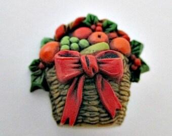 Fruit Basket Lapel Pin - Vintage Hallmark Jewelry - Thanksgiving Holiday Jewelry