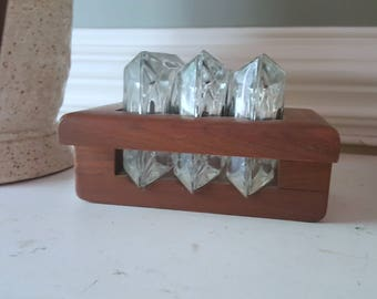 Mid Century Set of Six Glass Coasters with Wooden Coaster holder