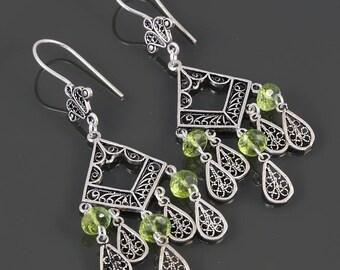 Peridot Chandelier Earrings. Sterling Silver. Turkish Filigree. Genuine Gemstone. August Birthstone. f17e003