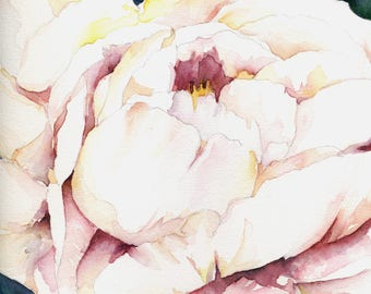 Peony in White Original Watercolor Painting, Peonies, Peony Decor, Peony Wall Hanging Art