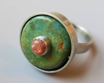 Turquoise and Sunstone Statement Ring