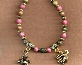 ON SALE Rhodonite & Unakite Bracelet