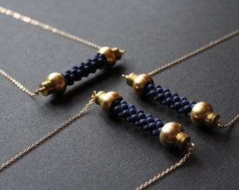 NEW Elizabeth Necklace - rope necklace unique jewelry nautical bar necklace long necklace modern statement navy blue necklace brass jewelry