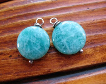 Amazonite Coin Bead Charms - 22mm in length- 1 Pair