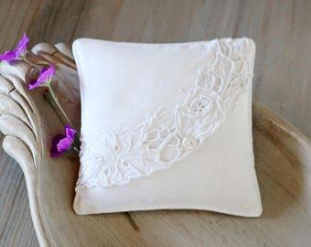Vintage Linen Lavender Sachet, Bridal Bridesmaid Gift, Scented Drawer Sachet
