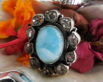 Larimar & herkimer diamond (quartz) sterling silver ring - size 7