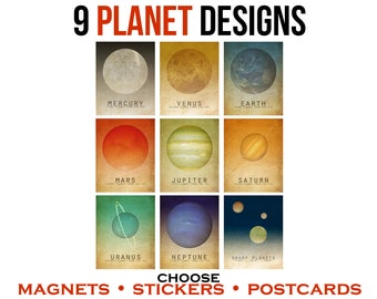 9 Planet Stickers or Magnets or Postcards. Astronomy Solar System Art. Outer Space Decor. Astronomer Teacher Gift. Dwarf Planet Pluto