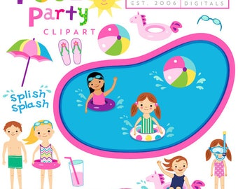 40% off Pool Party clipart commercial use Summer Invitations, kids, children, girls, birthday, swimming