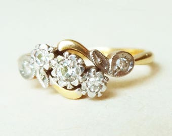 Art Deco Floral Vine Leaf Diamond Ring, Vintage 18k Gold, Platinum and Diamond Leaves and Flowers Engagement Ring, Approx Size US 6.25