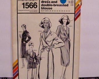 Stretch and Sew Misses' Wrap Dress and Double-Breasted Blouse Pattern 1566