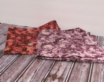 Red and Purple  Floral Print Fabric
