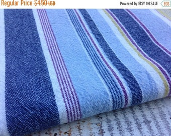 SALE- Striped Cotton Fabric-Recycled Tablecloth Fabric-Blue and Green