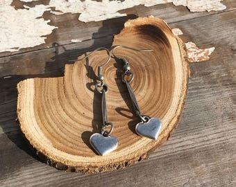 Metal Heart Earrings-Reconstructed--Boho Earrings-