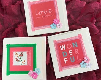 """Set of Three Mini Valentines Day Cards, Gift Tags, Flowers, Love, Romance, Wonderful, Love You Forever, Boyfriend, Girlfriend, Fun-3"""" Square"""