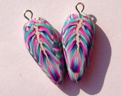Feather Dagger Style Charm Handmade Artisan Polymer Clay Beads Pair