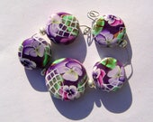 Purple Pansy Spring Floral  Window Artisan Polymer Clay Bead Set with Focal and 4 Beads